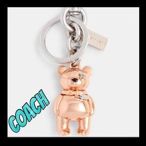 🐻NWT🐻COACH rose gold Teddy Bear key chain
